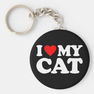 I LOVE MY CAT BASIC ROUND BUTTON KEY RING