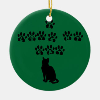 I Love My Cat--Black Text Round Ceramic Decoration