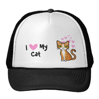 I Love My Cat (design your own cartoon cat) Cap