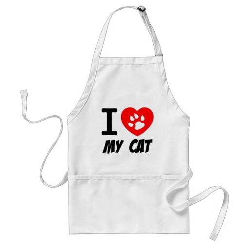 I LOVE  MY CAT PETS FELINES CAUSES ANIMAL HEART FR APRON
