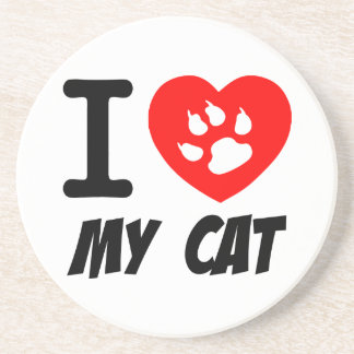 I LOVE MY CAT PETS FELINES CAUSES ANIMAL HEART FR COASTERS
