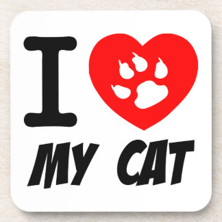 I LOVE MY CAT PETS FELINES CAUSES ANIMAL HEART FR DRINK COASTERS