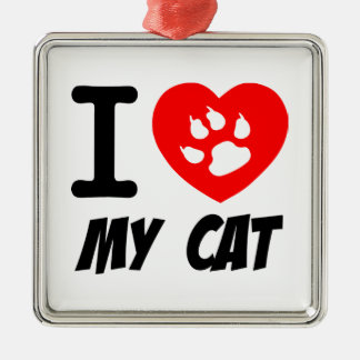I LOVE  MY CAT PETS FELINES CAUSES ANIMAL HEART FR CHRISTMAS ORNAMENTS