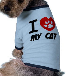I LOVE MY CAT PETS FELINES CAUSES ANIMAL HEART FR PET TEE