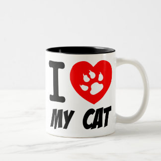 I LOVE  MY CAT PETS FELINES CAUSES ANIMAL HEART FR COFFEE MUGS