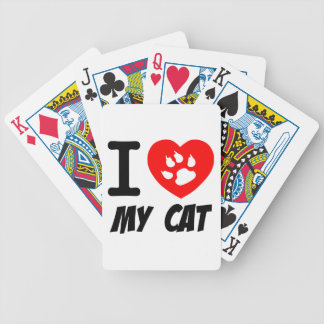 I LOVE MY CAT PETS FELINES CAUSES ANIMAL HEART FR BICYCLE CARD DECKS