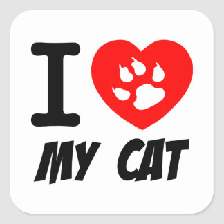 I LOVE  MY CAT PETS FELINES CAUSES ANIMAL HEART FR SQUARE STICKER