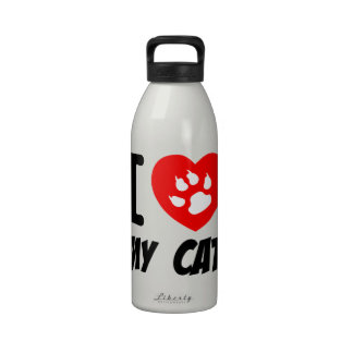 I LOVE MY CAT PETS FELINES CAUSES ANIMAL HEART FR REUSABLE WATER BOTTLES