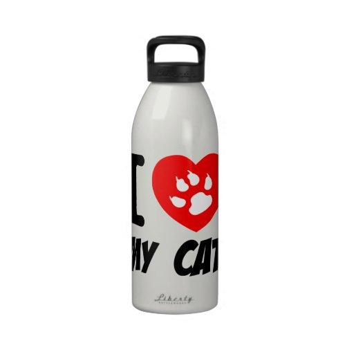 I LOVE  MY CAT PETS FELINES CAUSES ANIMAL HEART FR REUSABLE WATER BOTTLES