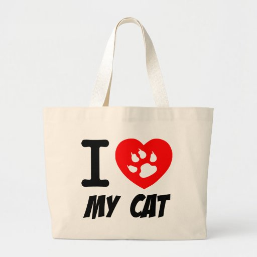 I Love My Cat Text With Red Heart Canvas Bag