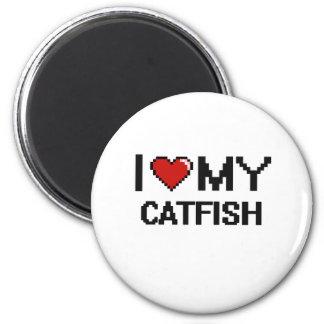 I Love My Catfish Digital design 6 Cm Round Magnet