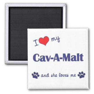 I Love My Cav-A-Malt (Female Dog) Square Magnet