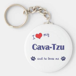 I Love My Cava-Tzu (Male Dog) Key Ring