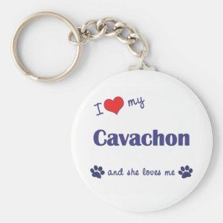 I Love My Cavachon (Female Dog) Basic Round Button Key Ring