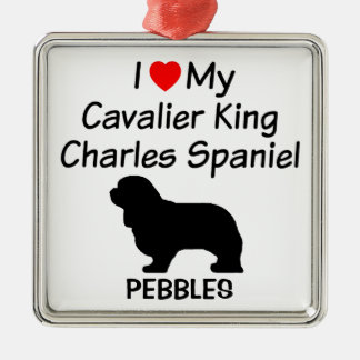 I Love My Cavalier King Charles Spaniel Dog Silver-Colored Square Decoration