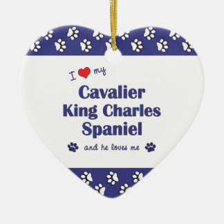 I Love My Cavalier King Charles Spaniel (Male Dog) Double-Sided Heart Ceramic Christmas Ornament