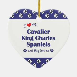I Love My Cavalier King Charles Spaniels (Multi) Double-Sided Heart Ceramic Christmas Ornament