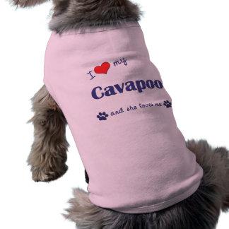 I Love My Cavapoo (Female Dog) Sleeveless Dog Shirt