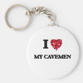 I love My Cavemen Basic Round Button Key Ring
