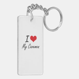 I love My Cavemen Double-Sided Rectangular Acrylic Key Ring