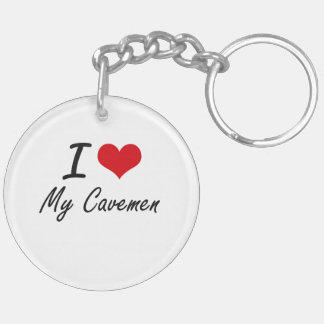 I love My Cavemen Double-Sided Round Acrylic Key Ring