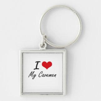 I love My Cavemen Silver-Colored Square Key Ring