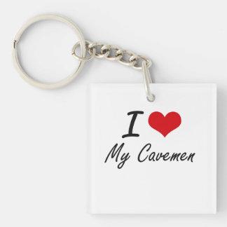 I love My Cavemen Single-Sided Square Acrylic Key Ring