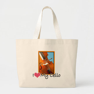 I Love My Cello Large Tote Bag