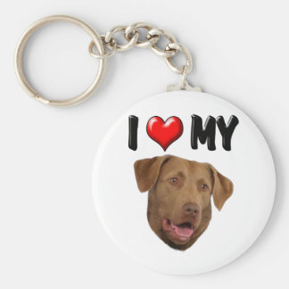 I Love My Chesapeake Bay Retriever Basic Round Button Key Ring