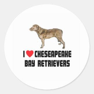I Love My Chesapeake Bay Retriever Round Sticker