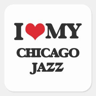 I Love My CHICAGO JAZZ Square Sticker