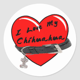 I Love My Chihuahua Heart with Dog Collar Round Sticker
