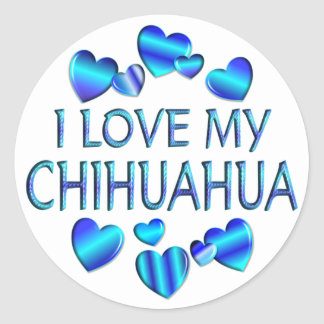 I Love My Chihuahua Round Sticker