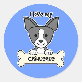 I Love My Chihuahua Classic Round Sticker