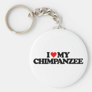 I LOVE MY CHIMPANZEE BASIC ROUND BUTTON KEY RING