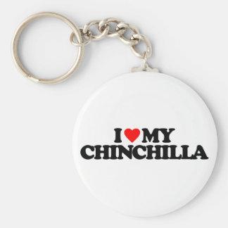 I LOVE MY CHINCHILLA BASIC ROUND BUTTON KEY RING