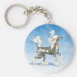 I Love My Chinese Crested Dog Art Keychain
