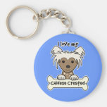 I Love My Chinese Crested Basic Round Button Key Ring