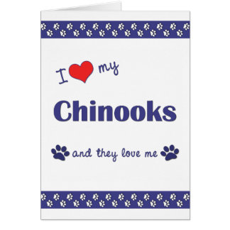 I Love My Chinooks (Multiple Dogs) Note Card