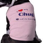 I Love My Chug (Female Dog) Sleeveless Dog Shirt