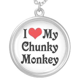 I Love My Chunky Monkey Silver Plated Necklace