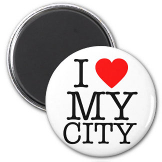 I Love my city 6 Cm Round Magnet