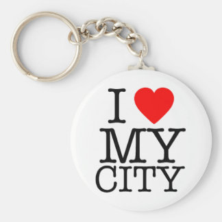 I Love my city Basic Round Button Key Ring