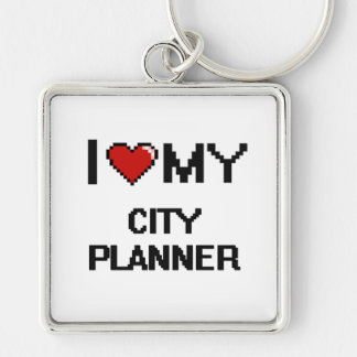 I love my City Planner Silver-Colored Square Key Ring