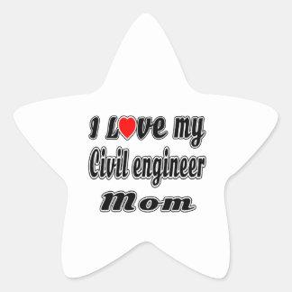 I Love My Civil engineer Mom Star Sticker