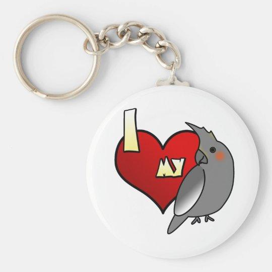 I Love my Cockatiel Basic Round Button Key Ring