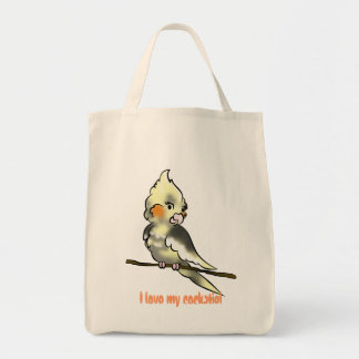 I love my cockatiel grocery baggie tote bag