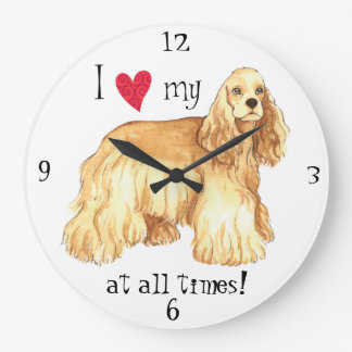 I Love my Cocker Spaniel Large Clock
