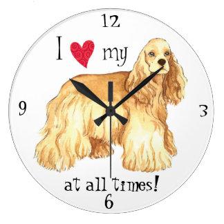 I Love my Cocker Spaniel Large Clock