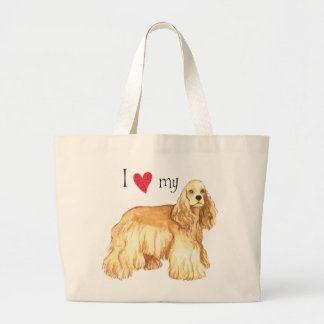 I Love my Cocker Spaniel Large Tote Bag